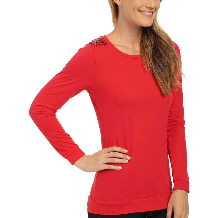 U.S. Polo Assn. Lipstick Red Sequin Yoke T-Shirt