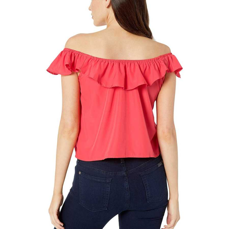 U.S. Polo Assn. Max Poppy Solid Ruffle Woven Blouse