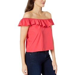 U.S. Polo Assn. Max Poppy Solid Ruffle Woven Blouse - Thumbnail
