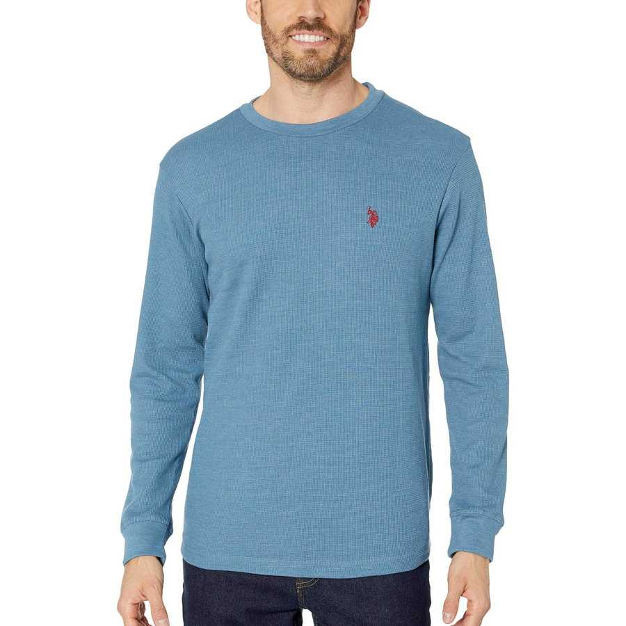 U.S. Polo Assn. Medium Blue Heather Long Sleeve Crew Neck Solid Thermal Shirt