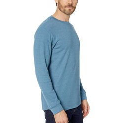 U.S. Polo Assn. Medium Blue Heather Long Sleeve Crew Neck Solid Thermal Shirt - Thumbnail