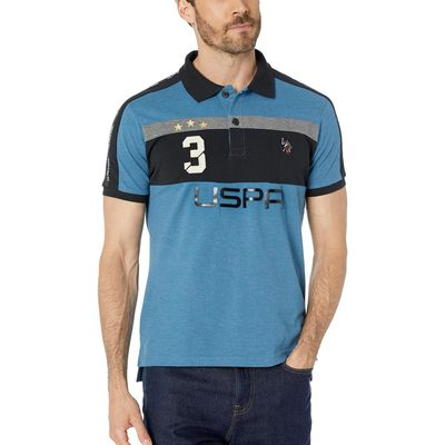 U.S. Polo Assn. - U.S. Polo Assn. Medium Blue Heather Slim Fit Uspa 3 Color Block Knit