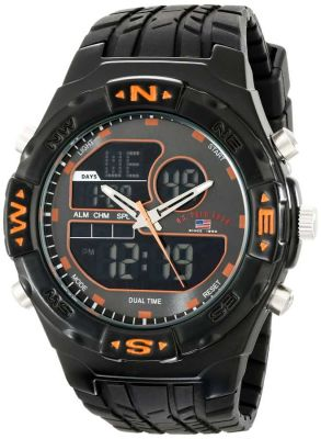 U.S. Polo Assn. - U.S. Polo Assn. Men's Analog-Digital Black Rubber Band Black Sport Watch US9059 US9059