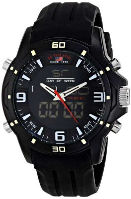 U.S. Polo Assn. - U.S. Polo Assn. Men's Analog-Digital Black Silicone Band Sport Watch US9490 US9490