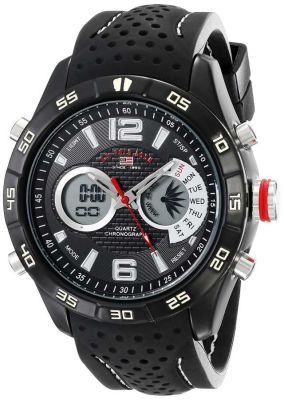 U.S. Polo Assn. - U.S. Polo Assn. Men's Analog-Digital Display Analog Quartz Black Sport Watch US9487 US9487