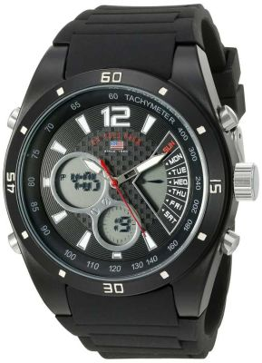 U.S. Polo Assn. - U.S. Polo Assn. Men's Analog-Digital Display Analog Quartz Black Sport Watch US9537 US9537