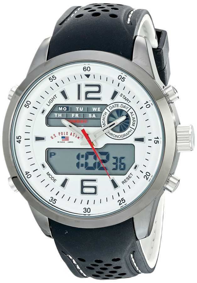 U.S. Polo Assn. Men's Analog-Digital Display Silver-Tone with Textured Band Silver Toned Sport Watch US9506 US9506