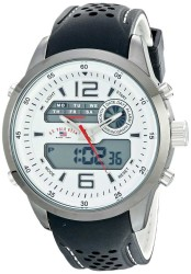 U.S. Polo Assn. Men's Analog-Digital Display Silver-Tone with Textured Band Silver Toned Sport Watch US9506 US9506 - Thumbnail
