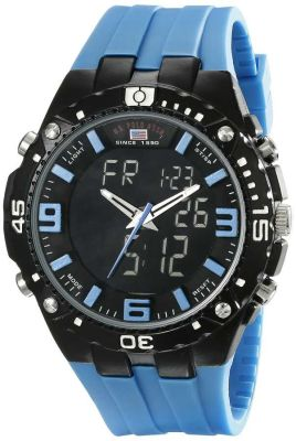 U.S. Polo Assn. - U.S. Polo Assn. Men's Black Ana-Digi Sport Watch with Blue Silicone Band US9175 US9175