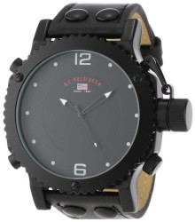 U.S. Polo Assn. Men's Black Analog Leather Strap Black Classic Watch US4021 US4021 - Thumbnail