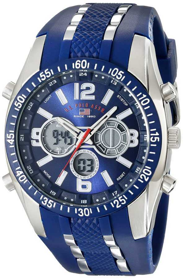 U.S. Polo Assn. Men's Blue and Silver Toned Analog/Digital Chronograph Blue and Silver Toned Sport Watch US9284 US9284
