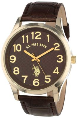 U.S. Polo Assn. - U.S. Polo Assn. Men's Brown Croco Genuine Leather Band Analog Brown Classic Watch USC50187
