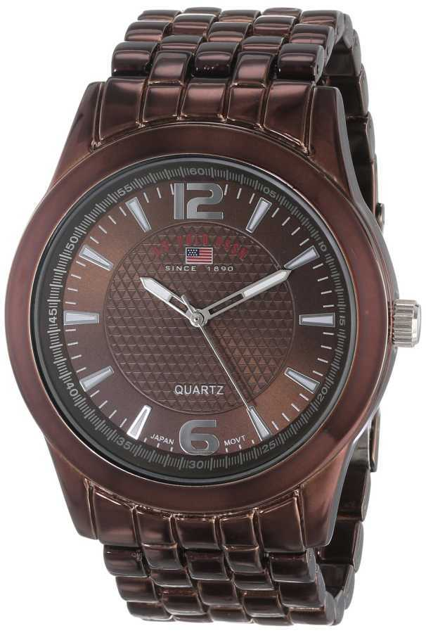 U.S. Polo Assn. Men's Brown Dial Spray Brown Plated Bracelet Classic Watch US8442 US8442