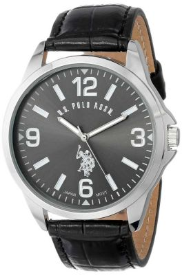 U.S. Polo Assn. - U.S. Polo Assn. Men's Oversized Dial Black Classic Watch with Leather Band USC50007 USC50007