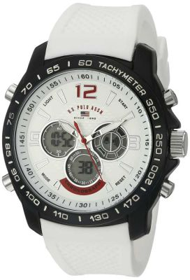U.S. Polo Assn. - U.S. Polo Assn. Men's Quartz and Rubber Casual White Sport Watch US9556 US9556