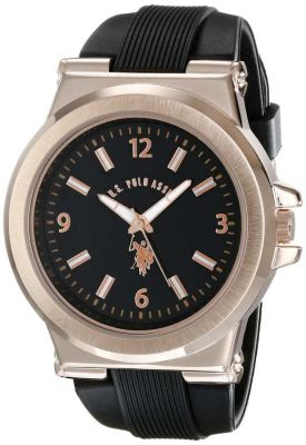 U.S. Polo Assn. - U.S. Polo Assn. Men's Rose Gold-Toned and Black Silicone Strap Black and Gold Toned Sport Watch USC90006 USC90006