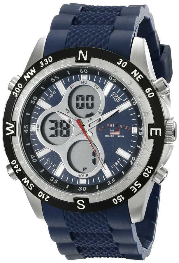 U.S. Polo Assn. Men's Silicone Band Analog Digital Blue Sport Watch US9137 US9137