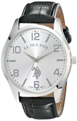 U.S. Polo Assn. - U.S. Polo Assn. Men's Silver Dial Black Band Classic Watch USC50224
