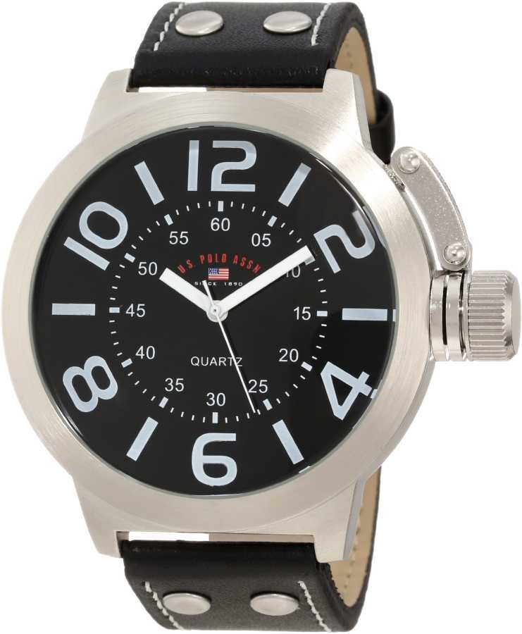 U.S. Polo Assn. Men's Silver Toned Classic Watch with Black Faux Leather Band US5207 US5207