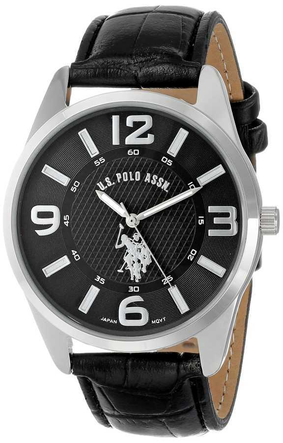 U.S. Polo Assn. Men's Silver Toned Classic Watch with Leather Band USC50010 USC50010