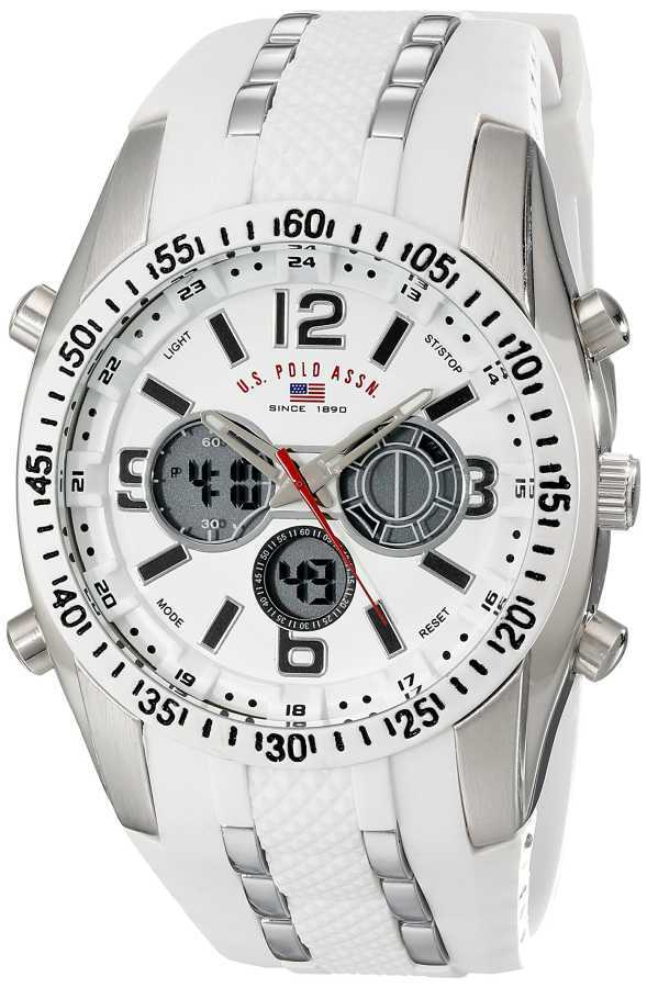 U.S. Polo Assn. Men's White and Silver Toned Sport Watch with White Silicone Band US9282 US9282