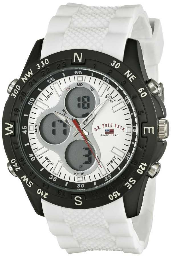 U.S. Polo Assn. Men's with White Rubber Band Sport Watch US9143 US9143
