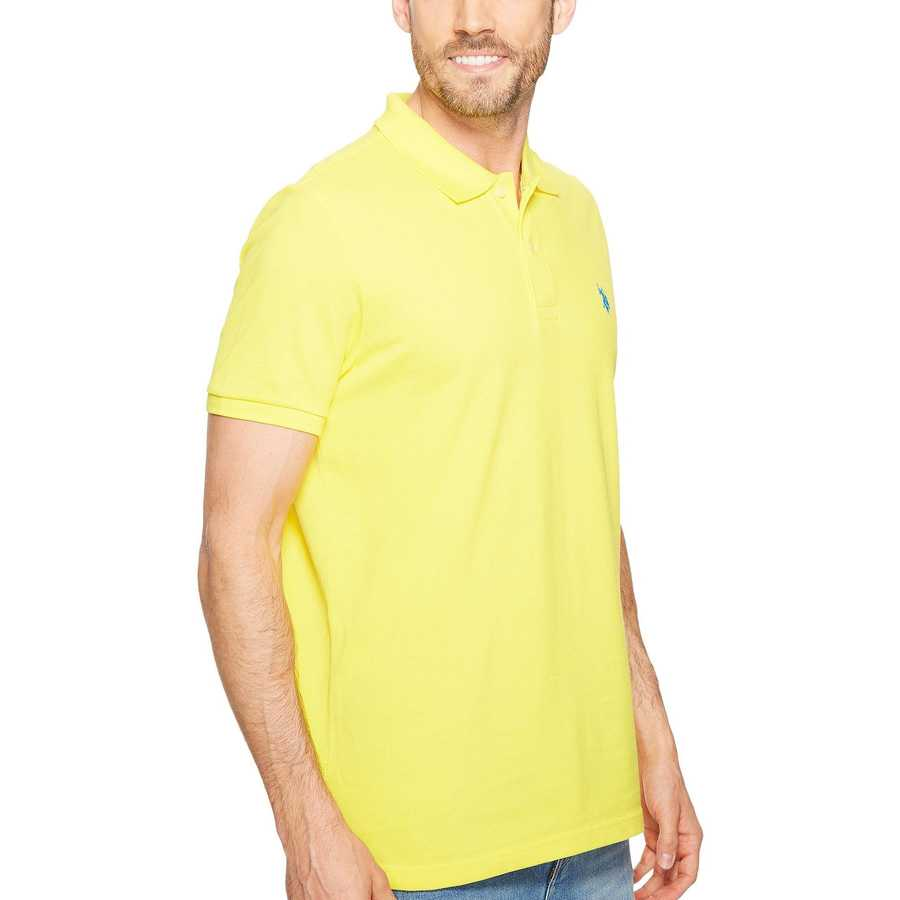 U.S. Polo Assn. Mid Day Yellow Solid Cotton Pique Polo With Small Pony