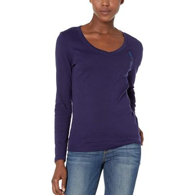 U.S. Polo Assn. - U.S. Polo Assn. Midnight Blue L/S V-Neck Rib Knit Tee