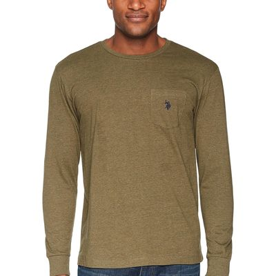 U.S. Polo Assn. - U.S. Polo Assn. Military Green Heather Long Sleeve Crew Neck Pocket T-Shirt
