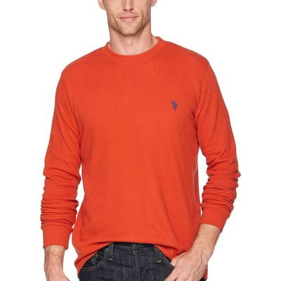 U.S. Polo Assn. - U.S. Polo Assn. Mineral Orange Long Sleeve Crew Neck Solid Thermal Shirt