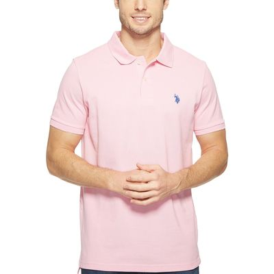 U.S. Polo Assn. - U.S. Polo Assn. Mystic Pink Solid Cotton Pique Polo With Small Pony