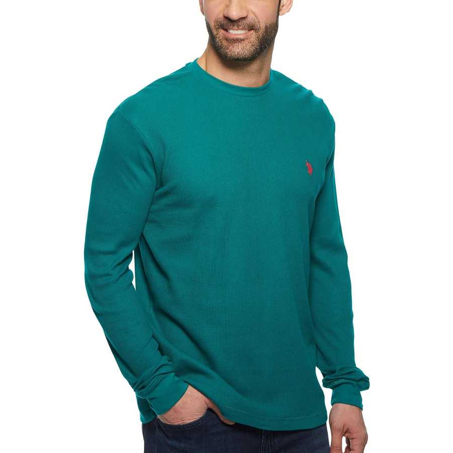 U.S. Polo Assn. Nocturne Teal Long Sleeve Crew Neck Solid Thermal Shirt
