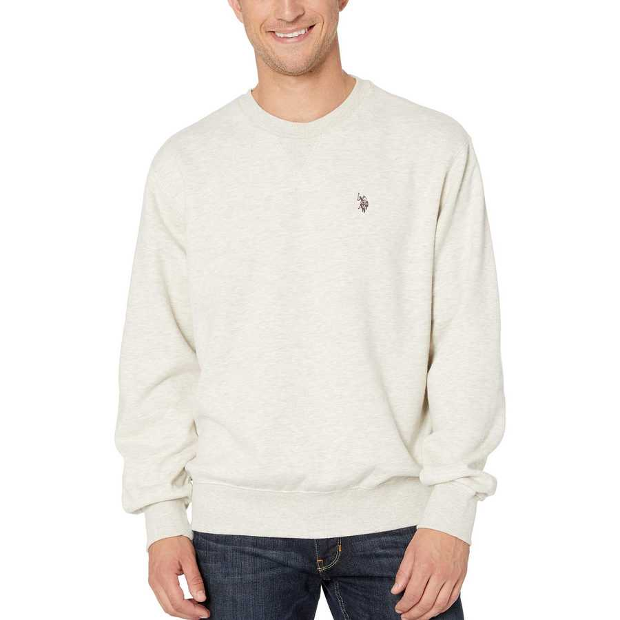 U.S. Polo Assn. Oatmeal Heather Pop Over Crew Neck Fleece