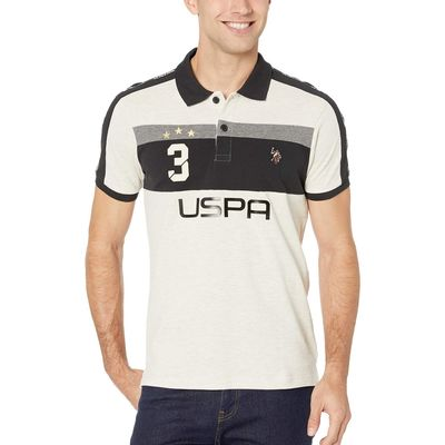 U.S. Polo Assn. - U.S. Polo Assn. Oatmeal Heather Slim Fit Uspa 3 Color Block Knit