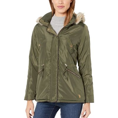 U.S. Polo Assn. Olive Anorak With Fur Hood