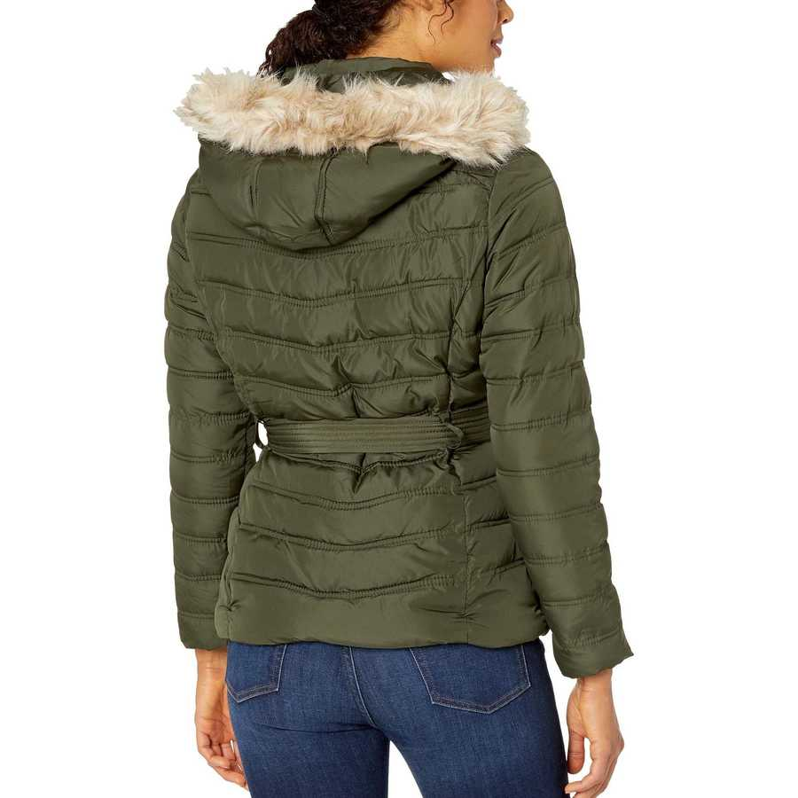U.S. Polo Assn. Olive Belted Puffer Jacket With Fur Hood