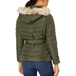 U.S. Polo Assn. Olive Belted Puffer Jacket With Fur Hood - Thumbnail