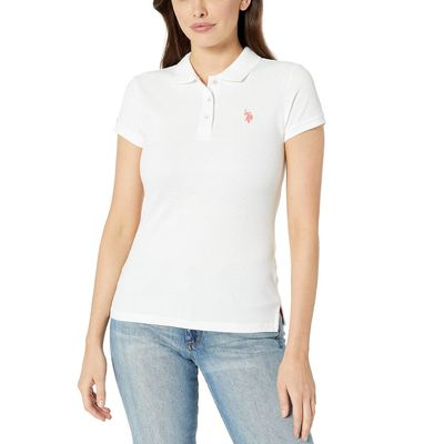 U.S. Polo Assn. Optic White 1 Neon Logo Polo Shirt