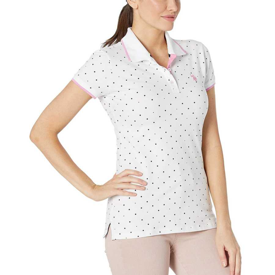 U.S. Polo Assn. Optic White Dot Print Polo Shirt
