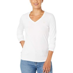 U.S. Polo Assn. Optic White Solid Long Sleeve Stretch Tee - Thumbnail
