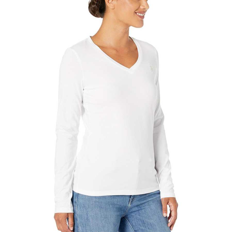 U.S. Polo Assn. Optic White Solid Long Sleeve Stretch Tee