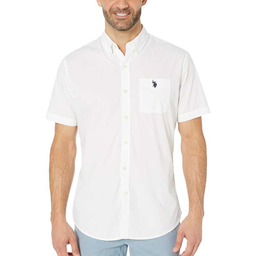 U.S. Polo Assn. Optic White Solid Poplin Button Down