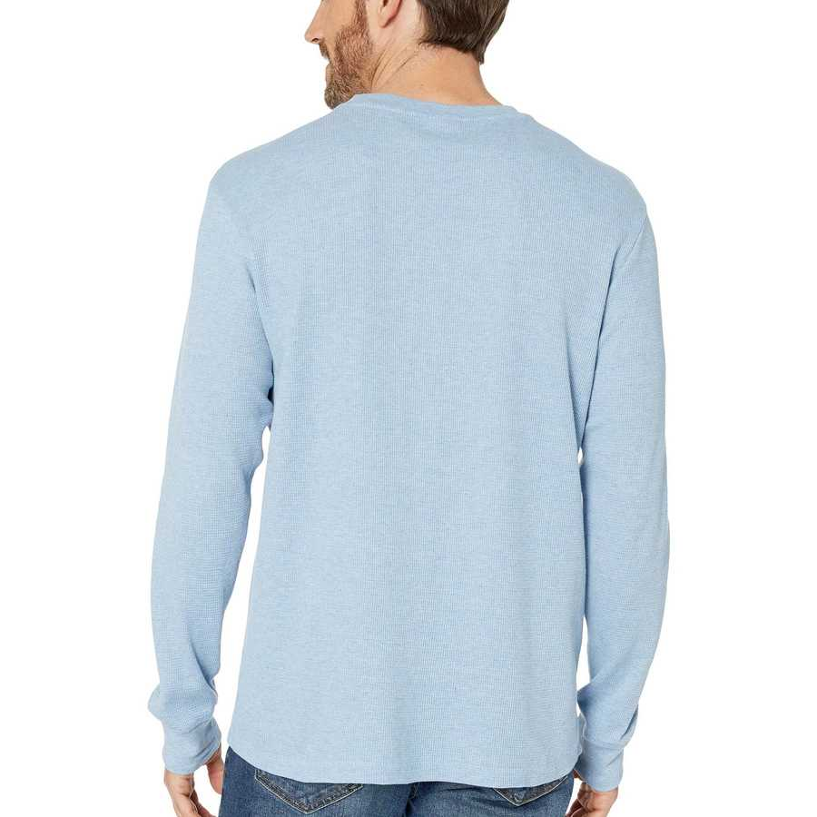 U.S. Polo Assn. Oxford Blue Heather Long Sleeve Crew Neck Solid Thermal Shirt