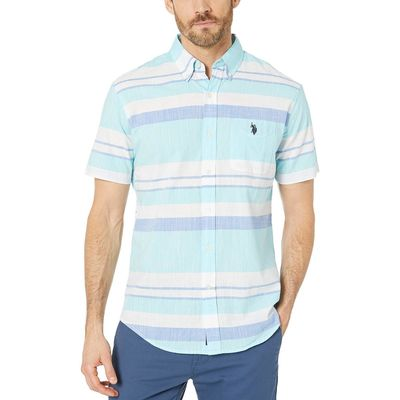 U.S. Polo Assn. - U.S. Polo Assn. Painters Aqua Horizontal Slub Stripe Button Down