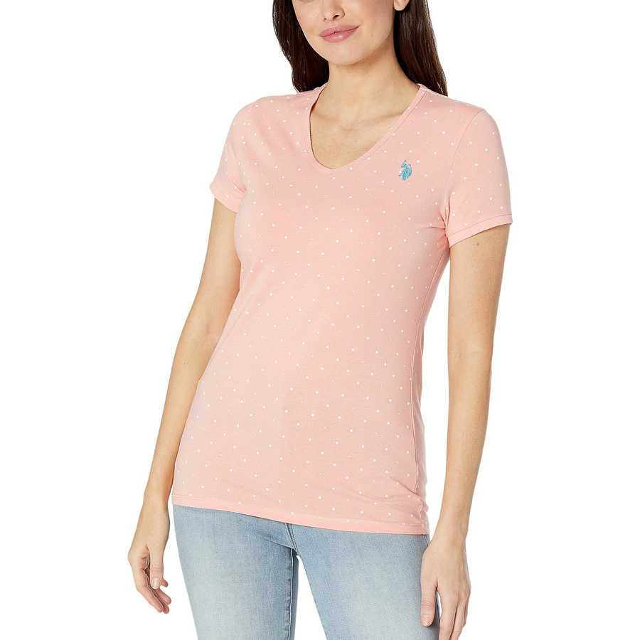 U.S. Polo Assn. Papaya Dot V-Neck Tee