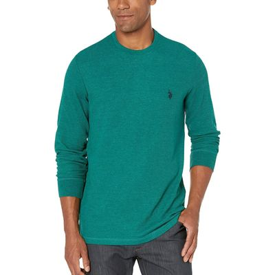U.S. Polo Assn. - U.S. Polo Assn. Peacock Heather Long Sleeve Crew Neck Solid Thermal Shirt