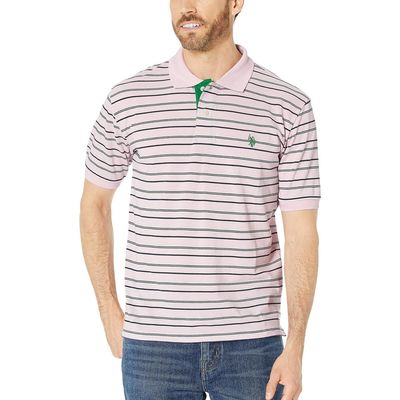 U.S. Polo Assn. Pink Champagne Heather 2 Double Stripe Polo