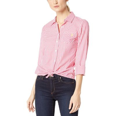 U.S. Polo Assn. - U.S. Polo Assn. Pink Oleander Long Sleeve Plaid Woven Shirt