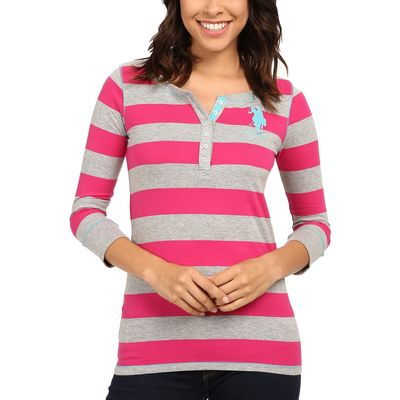 U.S. Polo Assn. - U.S. Polo Assn. Pink Peak 3/4 Sleeve Striped Cotton Jersey T-Shirt