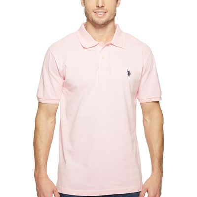 U.S. Polo Assn. - U.S. Polo Assn. Pink Rose/Classic Navy Solid Cotton Pique Polo With Small Pony